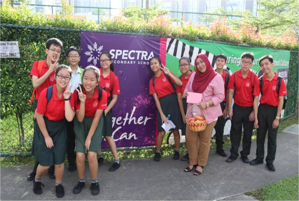 Students of Class 3N5 just before they pay a visit to fellow neighbour, Spectra Secondary School.